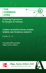 AAA The Common Core: Clarifying Expectations for Teachers and Students. Literacy Science & Technical Subjects, Grades 6-8