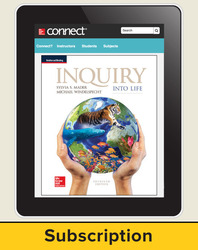 Mader, Inquiry Into Life, 2017, 15e, Connect, 1-year subscription