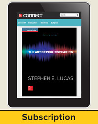 Lucas, The Art of Public Speaking © 2015, 12e, Connect Plus®, 1-year subscription