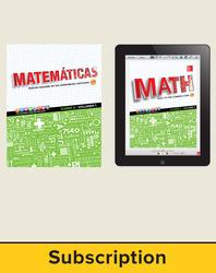 Glencoe Math Course 2, 1-year Complete Spanish Student Bundle (1 year print SE, 1 year ESE)