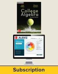 Miller, College Algebra © 2017, 2e, ALEKS®360 Student Bundle (Student Edtion with ALEKS®360), 40-week subscription