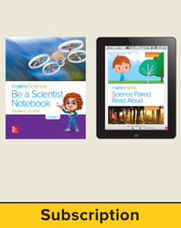 Inspire Science 2.0 Grade 1, Basic Student Bundle with Print Be a Scientist Notebook and Online Student Learning Center, 6 Year Subscription