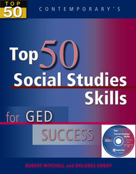Top 50 Social Studies Skills for GED Success, Student Text with CD-ROM