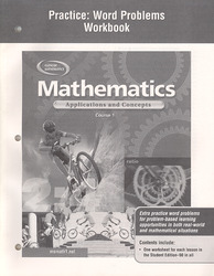 Mathematics: Applications and Concepts, Course 1, Practice: Word Problems Workbook