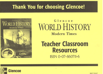 Glencoe World History, Modern Times, Teacher Classroom Resource