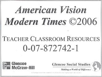 The American Vision: Modern Times, Teacher Classroom Resource