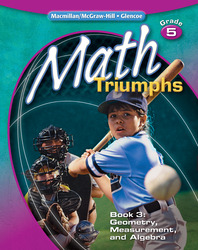 Math Triumphs, Grade 5, Student Study Guide, Book 3: Geometry, Measurement, and Algebra