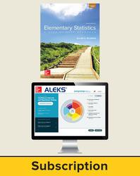 Bluman, Elementary Statistics © 2018, 10e, ALEKS®360 Student Bundle (Student Edition with ALEKS®360), 40-week subscription