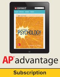King, The Science of Psychology © 2017, 4e (AP Edition) AP Advantage Digital Bundle (ONboard™(v2), Connect®, SCOREboard™(v2)), 1-year subscription