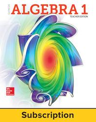 Glencoe Algebra 1 2018, eTeacher Edition, 1-year subscription