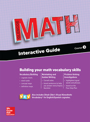 Glencoe Math 2016, Course 3 Interactive Guide for English Learners, Student Edition