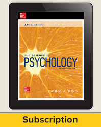 King, The Science of Psychology © 2017, 4e (AP Edition) AP advantage Digital Student Subscription (ONboard, Online Student Edition, SCOREboard) 1 yr subscription
