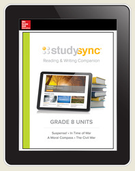 StudySync ELA Grade 8, Student/R&W Units and 2 Novels Bundle, 6 year