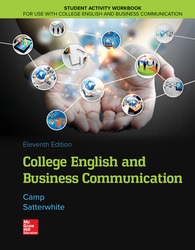 Student Activity Workbook for use with College English and Business Communication