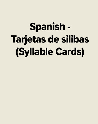 Spanish - Tarjetas de silibas (Syllable Cards)