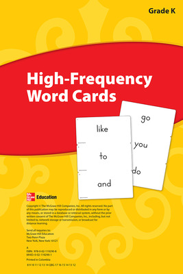 Reading Wonders, Grade K, High-Frequency Word Cards