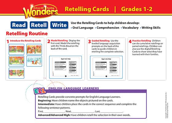 Reading Wonders, Grade 1, Retelling Cards