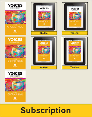 Hal Leonard Voices in Concert, Level 3 Mixed Choral Digital School Bundle, 8-year subscription, Grades 9-12