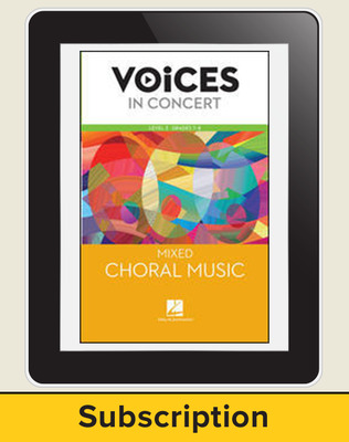 Hal Leonard Voices in Concert, Level 2 Mixed Choral Music Online Student (10 Seat Add-On), 1-year subscription, Grades 7-8