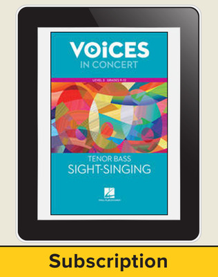 Hal Leonard Voices in Concert, L3 Tenor/Bass Sight-Singing 10 Student Seat Add-On, 7 Year Subscription