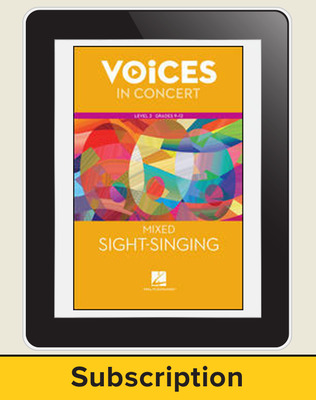 Hal Leonard Voices in Concert, L3 Mixed Sight-Singing 10 Student Seat Add-On, 1 Year Subscription
