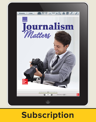 Glencoe Journalism Matters, Online Student Edition, 1 year subscription