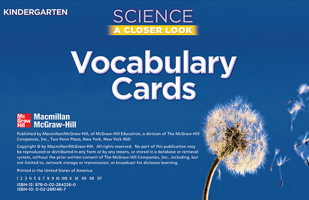 Science, A Closer Look, Grade K, Vocabulary Cards