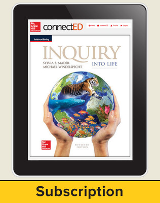 Mader, Inquiry Into Life, 2017, 15e, ConnectED eBook, 1-year subscription