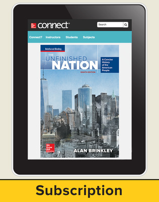 Brinkley, The Unfinished Nation: A Concise History of the American People, 2016 8e, Connect®, 1-year subscription