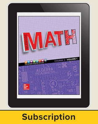 Glencoe Math 2016, Course 3 eStudentEdition, 1-year subscription