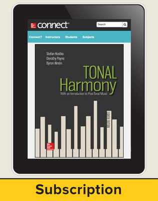 Kostka, Tonal Harmony, 2018, 8e, Connect, 1-year subscription