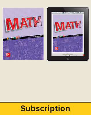 Glencoe Math 2016, Course 3 Complete Student Bundle, 1-year subscription