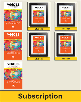 Hal Leonard Voices in Concert, Level 1A Treble Choral Digital School Bundle, 1-year subscription, Grade 6