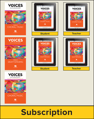 Hal Leonard Voices in Concert, Level 3 Treble Digital Bundle, 1 Year
