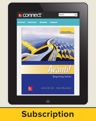 Aski, Avanti!, Introductory Italian, 2018, 4e, Connect, 1-year subscription