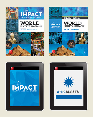 IMPACT: California, Grade 6, Complete Digital and Print Student Bundle with StudySync Blasts, 8-year subscription, World History and Geography, Ancient Civilizations
