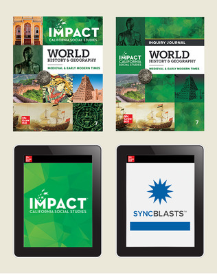 IMPACT: California, Grade 7, Complete Digital and Print Student Bundle with StudySync Blasts, 8-year subscription, World History and Geography, Medieval and Early Modern Times