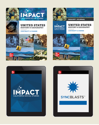 IMPACT: California, Grade 11, Complete Digital and Print Student Bundle with StudySync Blasts, 8-year subscription, United States History & Geography, Continuity and Change