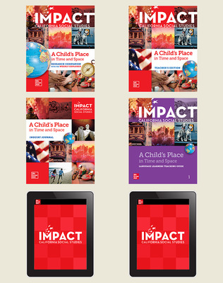 IMPACT: California, Grade 1, Digital and Print Student Bundle w/Combo Book, 8-year subscription, A Child's Place in Time and Space
