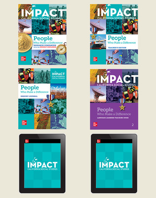 IMPACT: California, Grade 2, Digital and Print Student Bundle w/Combo Book, 8-year subscription, People Who Make a Difference