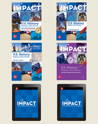 IMPACT: California, Grade 5, Digital and Print Student Bundle w/Combo Book, 8-year subscription, US History: Making a New Nation