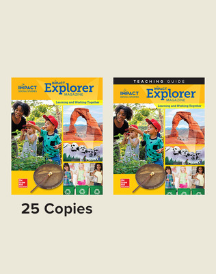 IMPACT Social Studies, Learning and Working Together, Grade K, Explorer Magazine Class Set (25) with Teaching Guide