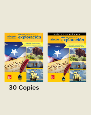 IMPACTO Social Studies, Historia de Estados Unidos: la creación de una nueva nación, Grade 5, Explorer Magazine Class Set (30) with Teaching Guide