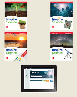 Inspire Science,  Grade 1 Online Student Center with Print Student Edition Units 1-4, 1 Year Subscription