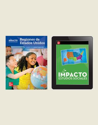 IMPACTO Social Studies, Regiones de Estados Unidos, Grade 4, Inquiry Print & Digital Student Bundle, 1 year subscription