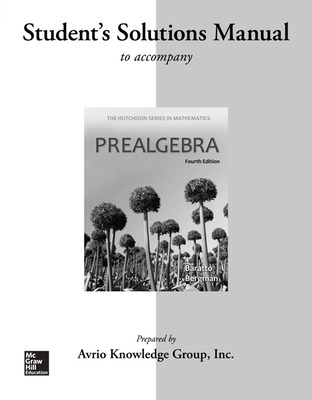 Student Solutions Manual for Prealgebra