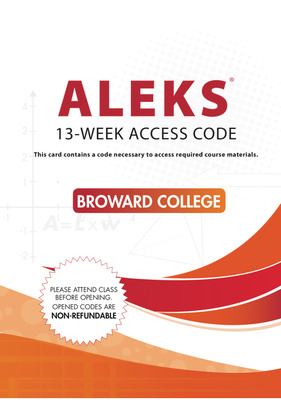 LSC  (BROWARD COLLEGE-NORTH) : ECOMMERCE Aleks 13 week Print access code with Additional materials