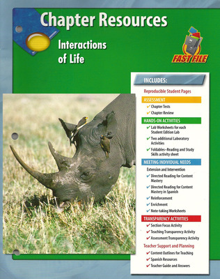 Glencoe Life iScience Module: Ecology, Grade 7, Chapter Fast Files: Interactions of Life
