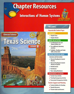 Glencoe iScience, Level Blue, Grade 8, Chapter Fast Files: Interactions of Human Systems