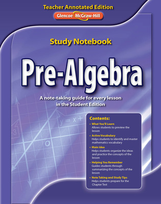 Pre-Algebra, Study Notebook Teacher Annotated Edition